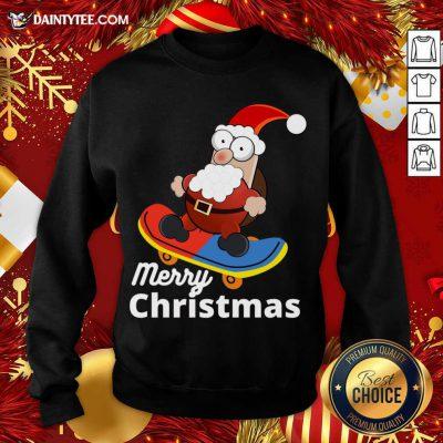 Christmas Skateboarding Santa Sweatshirt- Design By Daintytee.com