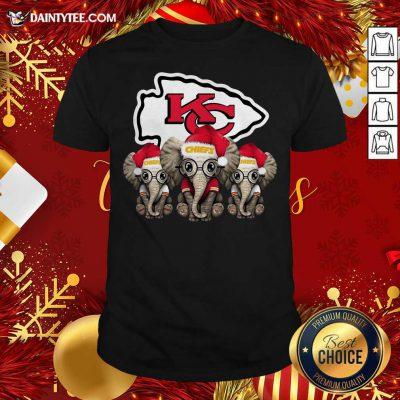 Cute Kansas City Chiefs Elephant Christmas Shirt- Design By Daintytee.com