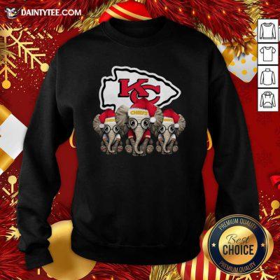 Cute Kansas City Chiefs Elephant Christmas Sweatshirt- Design By Daintytee.com