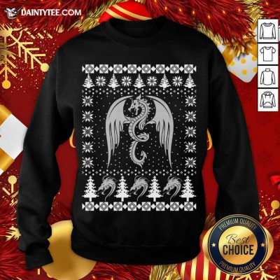 Dragon Ugly Christmas Fantasy Mystical Holiday Xmas Sweatshirt- Design By Daintytee.com