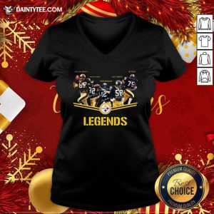 Pittsburgh Steelers Team Legends Signatures V-neck- Design By Daintytee.com