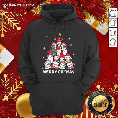 Cats Merry Catmas Merry Christmas Tree Hoodie- Design By Daintytee.com
