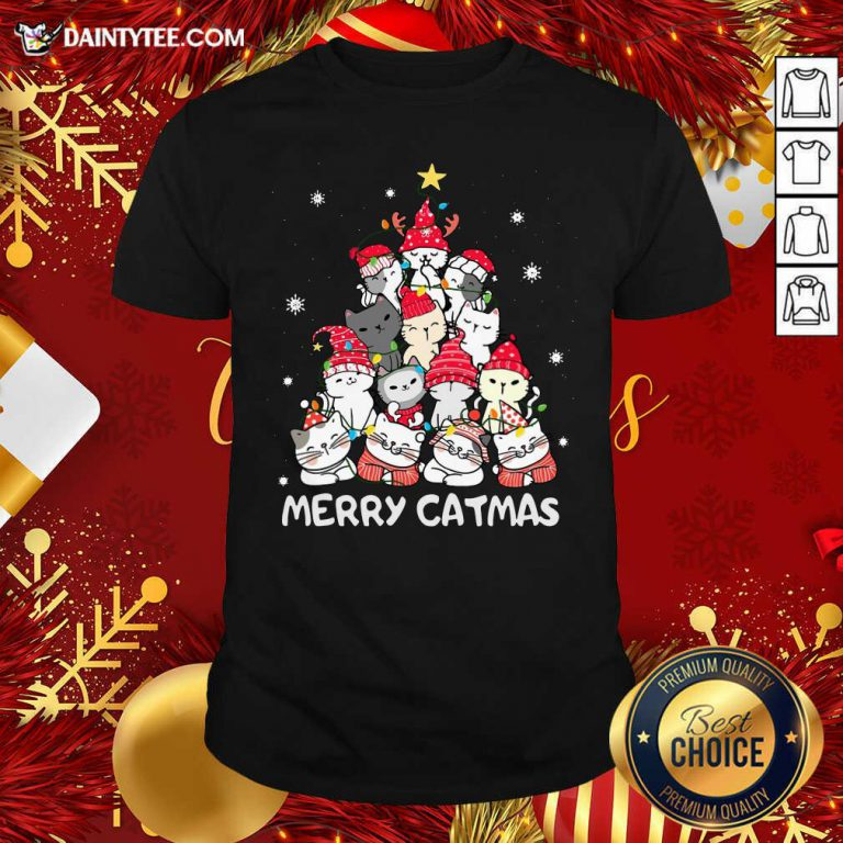 Funny Cats Merry Catmas Merry Christmas Tree Shirt- Design By Daintytee.com