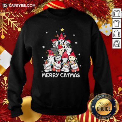 Cats Merry Catmas Merry Christmas Tree Sweatshirt- Design By Daintytee.com
