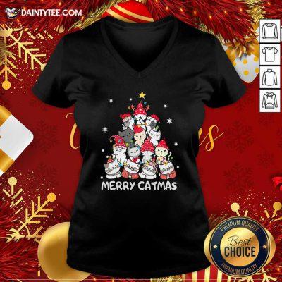 Cats Merry Catmas Merry Christmas Tree V-neck- Design By Daintytee.com