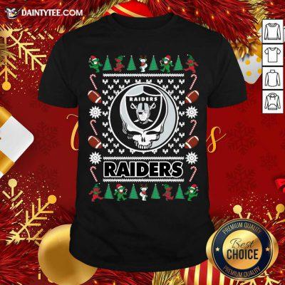 Las Vegas Raiders Grateful Dead Ugly Christmas Shirt- Design By Daintytee.com