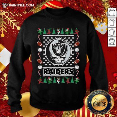 Las Vegas Raiders Grateful Dead Ugly Christmas Sweatshirt- Design By Daintytee.com