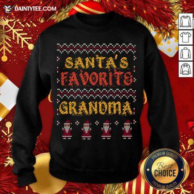 Santas Favorite Grandma Christmas Grandmother Xmas Sweatshirt- Design By Daintytee.com