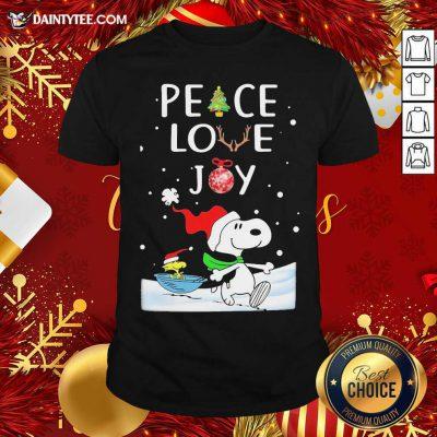 Snoopy Peace Love Joy Christmas Shirt- Design By Daintytee.com