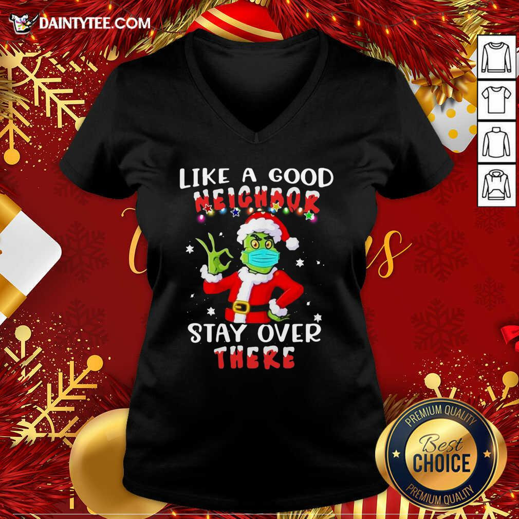 Like A Good Neighbor Stay Over There Ugly Christmas V-neck- Design By Daintytee.com