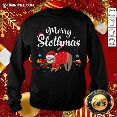 Merry Slothmas Sloth Funny Christmas Sweatshirt- Design By Daintytee.com