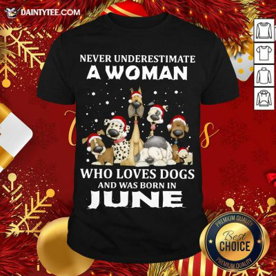 Never Underestimate A Woman Who Loves Dogs And Was Born In June Christmas Shirt- Design By Daintytee.com