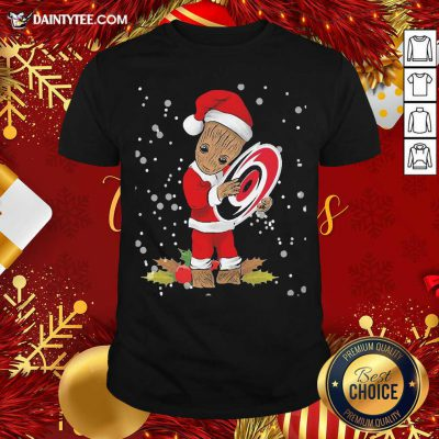 Santa Baby Groot Hug Carolina Hurricanes Christmas Shirt- Design By Daintytee.com