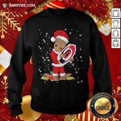Santa Baby Groot Hug Carolina Hurricanes Christmas Sweatshirt- Design By Daintytee.com