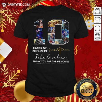 10 Years Of 2009 2019 Sword Art Online Thank You For The Memories Shirt- Design By Daintytee.com