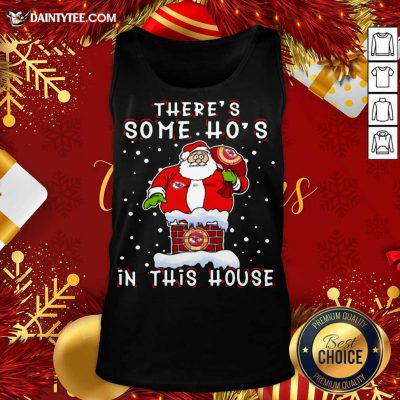 Kansas City Chiefs Christmas There Is Some Hos In This House Santa Stuck In The Chimney NFL Youth Tank Top- Design By Daintytee.com