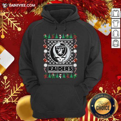 Las Vegas Raiders Grateful Dead Ugly Christmas Hoodie- Design By Daintytee.com