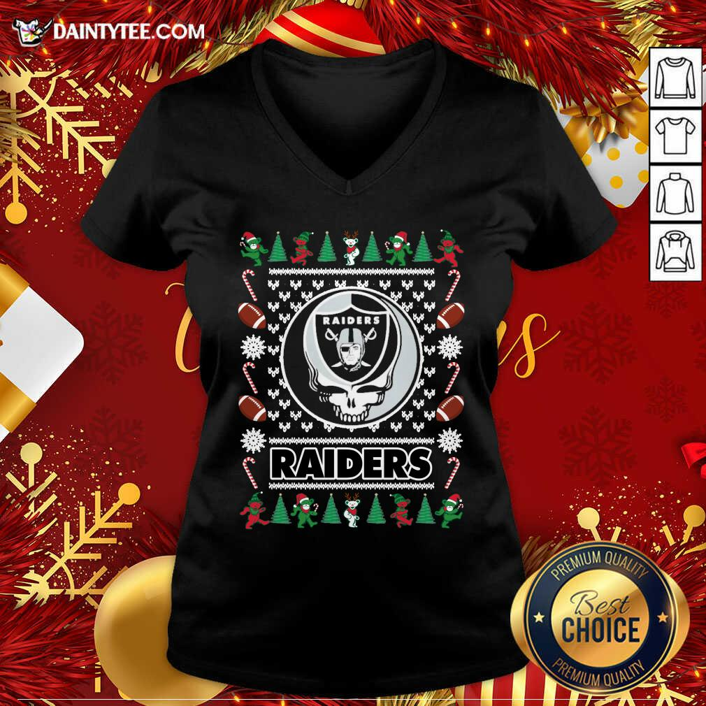 Las Vegas Raiders Grateful Dead Ugly Christmas V-neck- Design By Daintytee.com