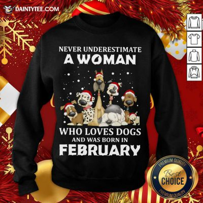 Never Underestimate A Woman Who Loves Dogs And Was Born In February Christmas Sweatshirt- Design By Daintytee.com