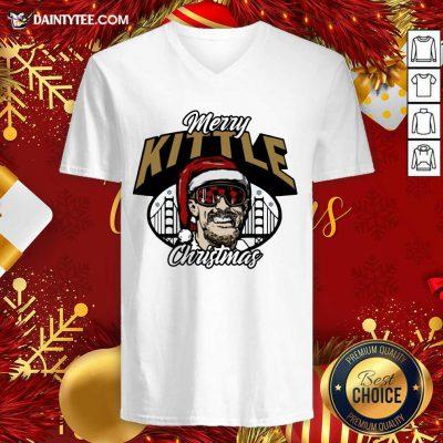 George Kittle Merry Kittle Christmas V-neck- Design By Daintytee.com