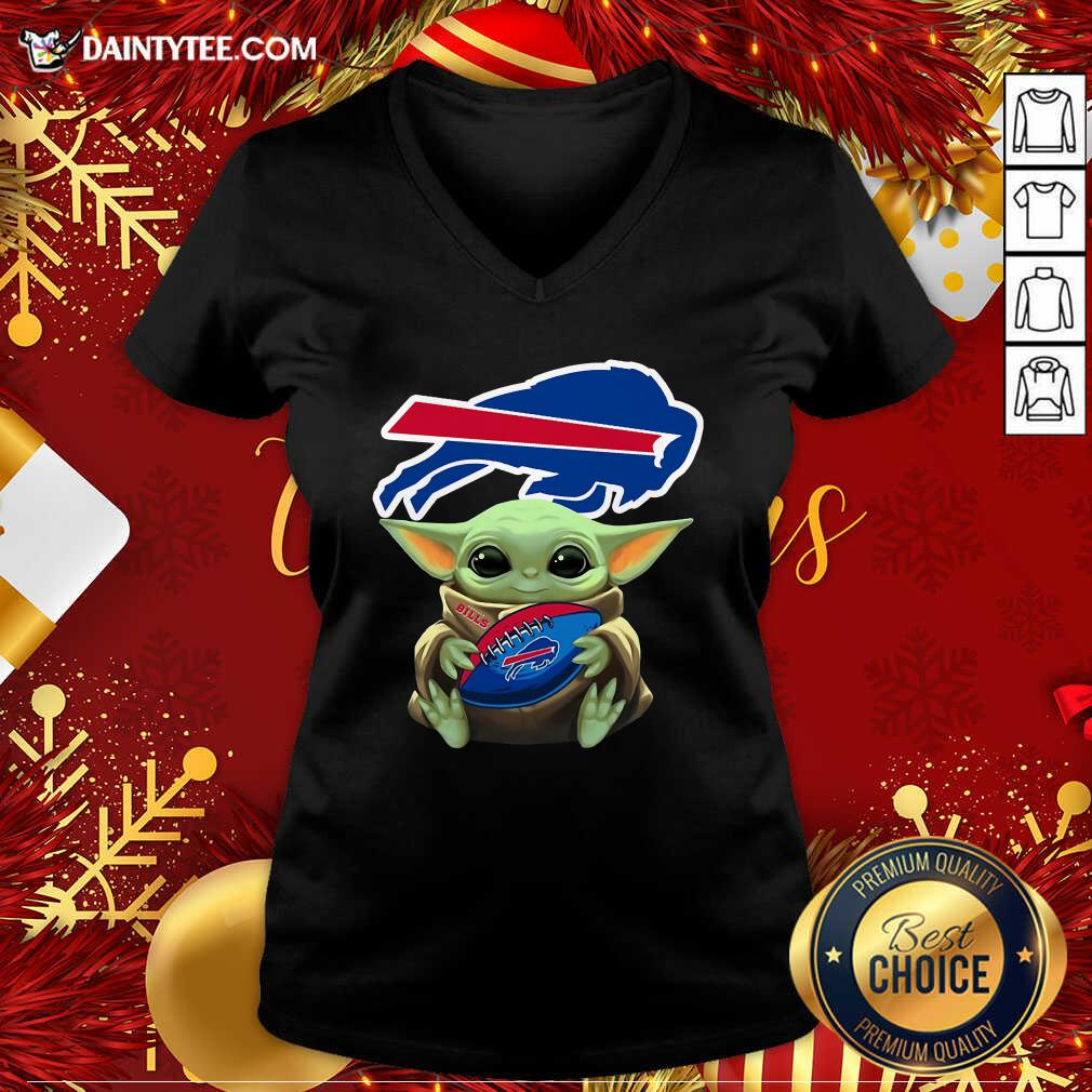 Baby Yoda Hug Buffalo Bills Football V-neck- Design By Daintytee.com