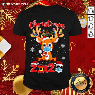 Christmas 2020 Reindeer Mask Matching Pajama Idea Shirt- Design By Daintytee.com