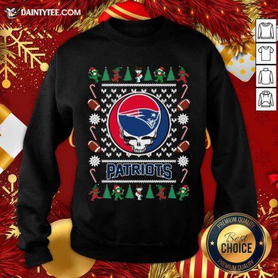 New England Patriots Grateful Dead Ugly Christmas Sweatshirt- Design By Daintytee.com
