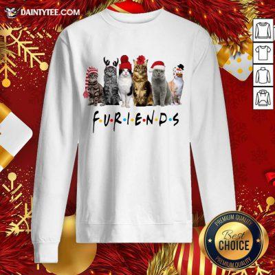 Cats Santa Furiends Christmas Sweatshirt- Design By Daintytee.com