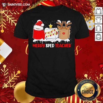 Merry Sped Teacher Christmas Shirt- Design By Daintytee.com