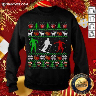 Skiing Coffee Ugly Christmas Sweatshirt- Design By Daintytee.com