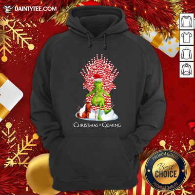 The Grinch And Dog Christmas Is Coming Hoodie- Design By Daintytee.com