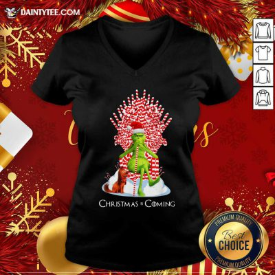 The Grinch And Dog Christmas Is Coming V-neck- Design By Daintytee.com