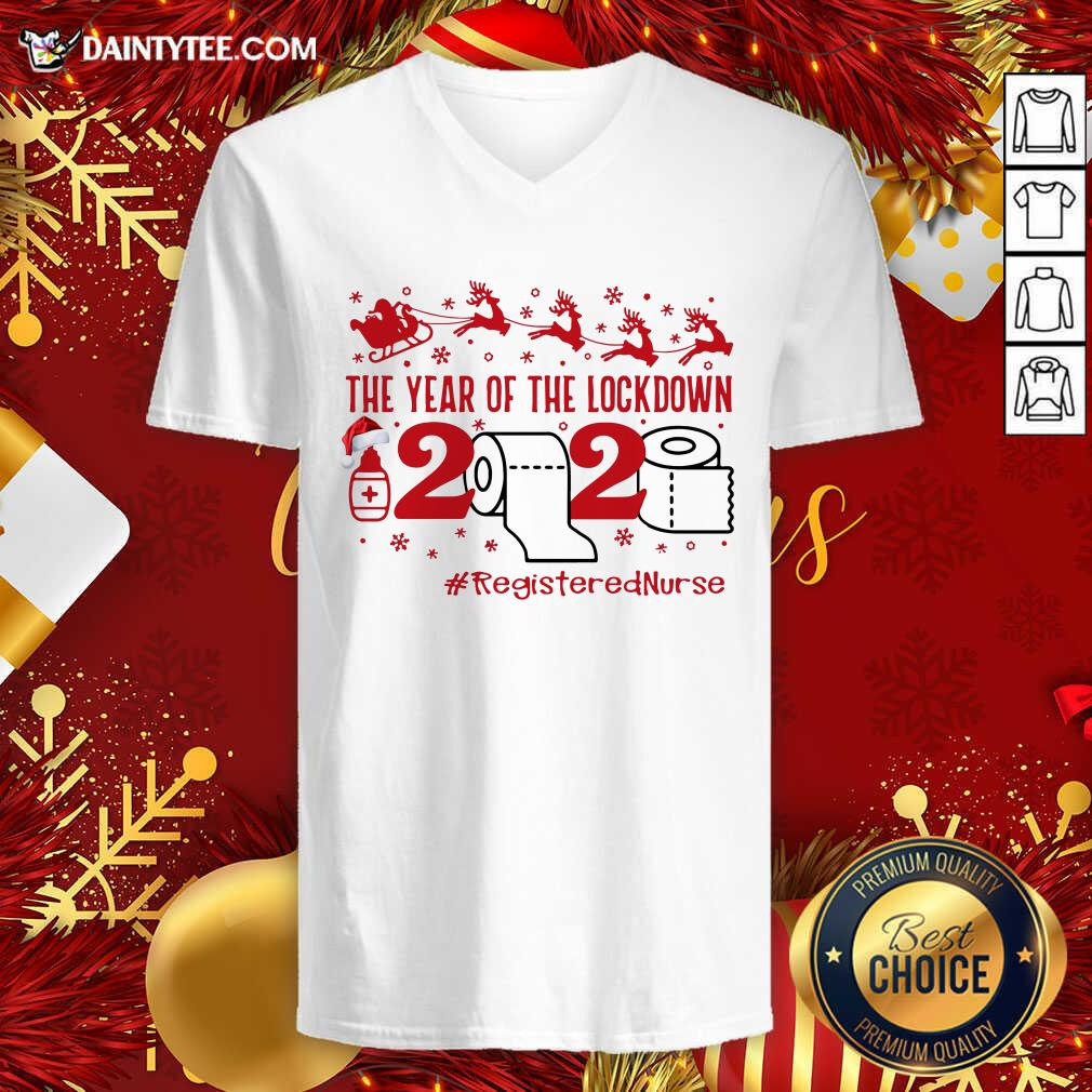 The Year Of The Lockdown 2020 #RegisteredNurse Ugly Christmas V-neck- Design By Daintytee.com