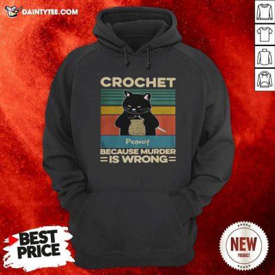 Black Cat Crochet Peanut Because Murder Is Wrong Vintage Hoodie - Design By Daintytee.com