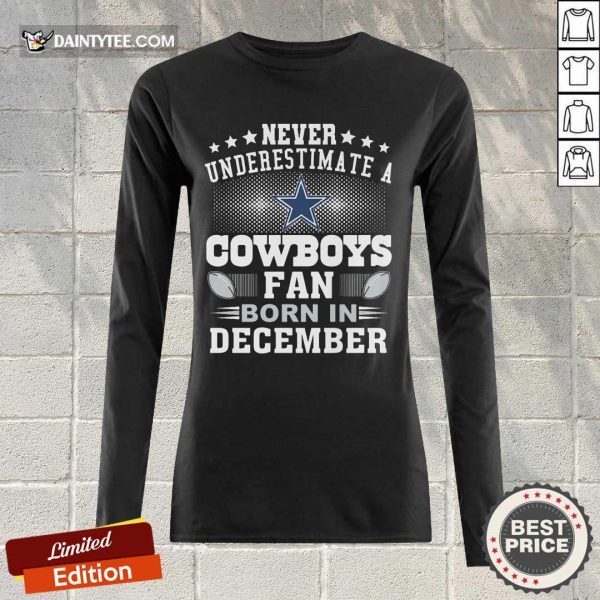 Never Underestimate Cowboys Fan Born In December Tank Top- Design By Daintytee.com