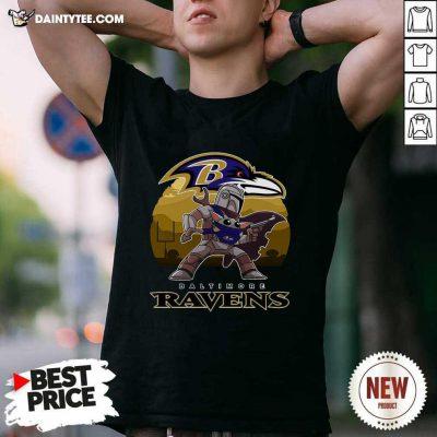 The Mandalorian Star War Baby Yoda With Baltimore Ravens 2021 Shirt- Design By Daintytee.com