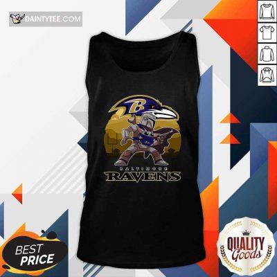 The Mandalorian Star War Baby Yoda With Baltimore Ravens 2021 Tank Top- Design By Daintytee.com