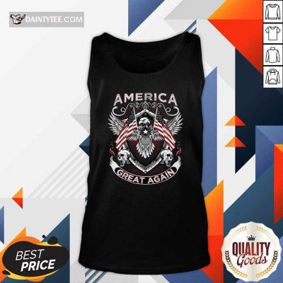 America Great Again Eagle American Flag Skull Tank Top- Design By Daintytee.com