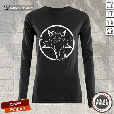 Good Cats Are Metal Pentagram Inverted Long-sleeved