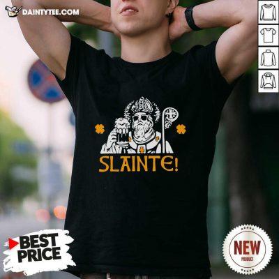 Slainte St Patricks Day Drinking Beer Lover Lucky Shamrock Shirt- Design By Daintytee.com
