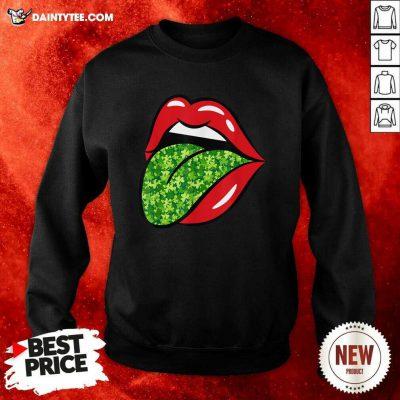 Red Lips Shamrock Tongue St Patrick's Day Green Saint Pattys Sweatshirt- Design By Daintytee.com