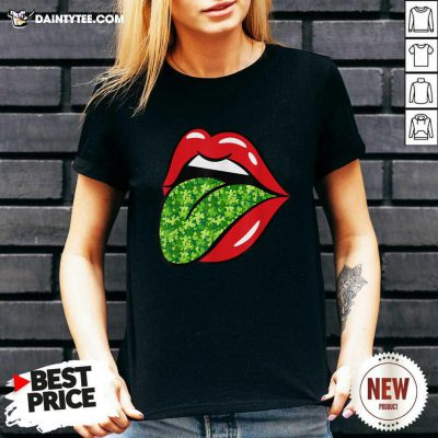 Red Lips Shamrock Tongue St Patrick's Day Green Saint Pattys V-neck- Design By Daintytee.com