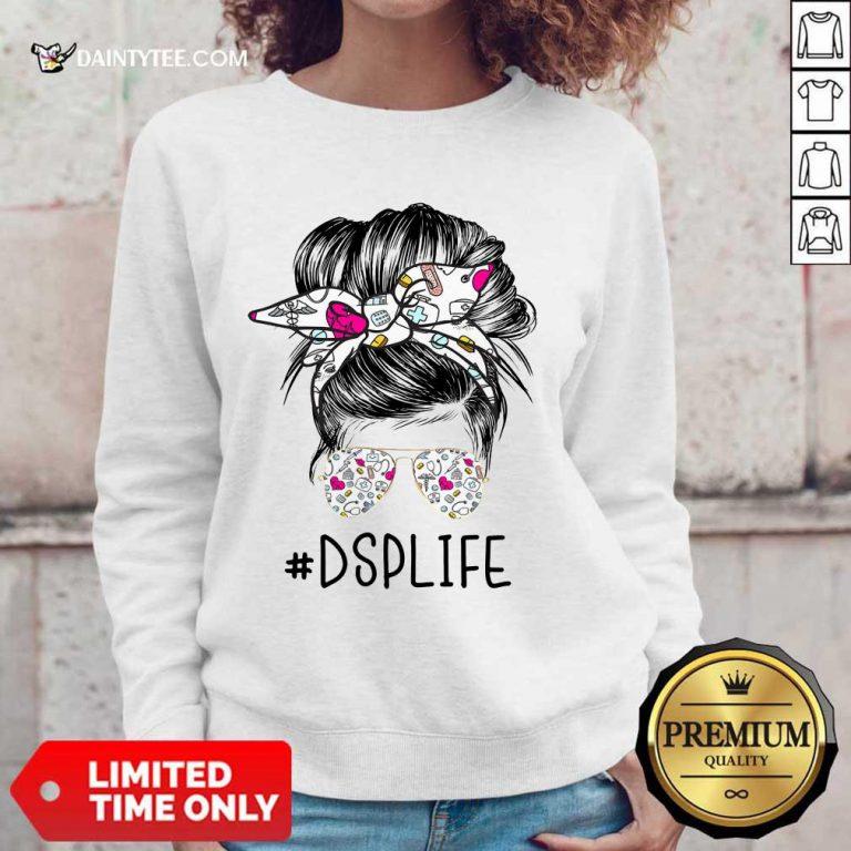 Funny DSP Girl Bun Hair Glasses Sweater