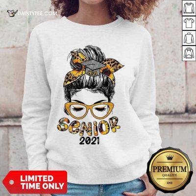 Funny Sunflower Senior 2021 Girl Bun Hair Glasses Sweater