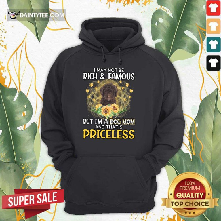 Pretty Spanish Water I May Not Be Rich And Famous But I'm A Dog Mom And That's Priceless Hoodie