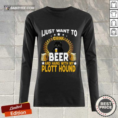 Black Cat I Just Want To Drink Beer Long-sleeved