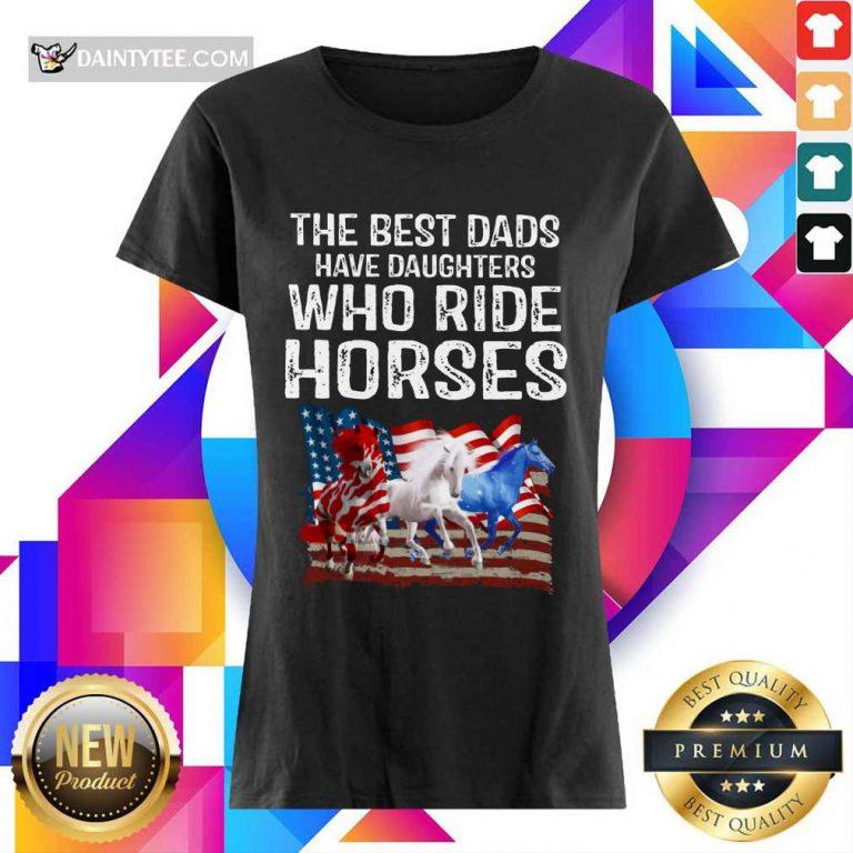 Dads Have Daughters Love Horse American Flag Ladies Tee