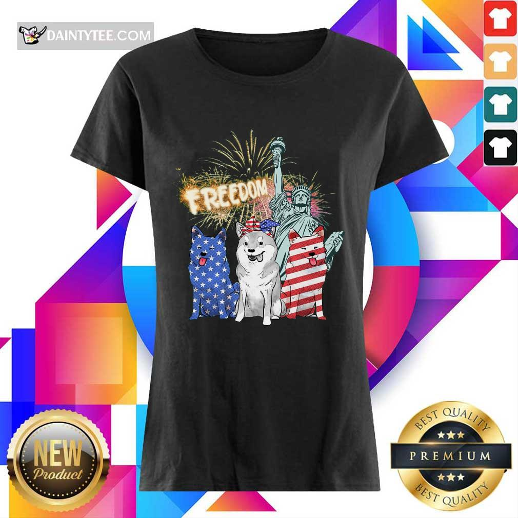 Freedom Shiba Inu Statue Of Liberty USA Flag Ladies Tee