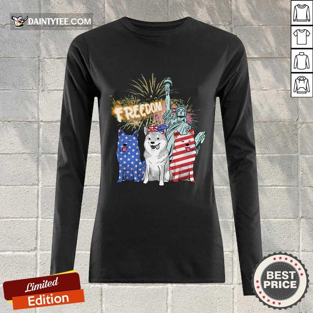 Freedom Shiba Inu Statue Of Liberty USA Flag Long-sleeved