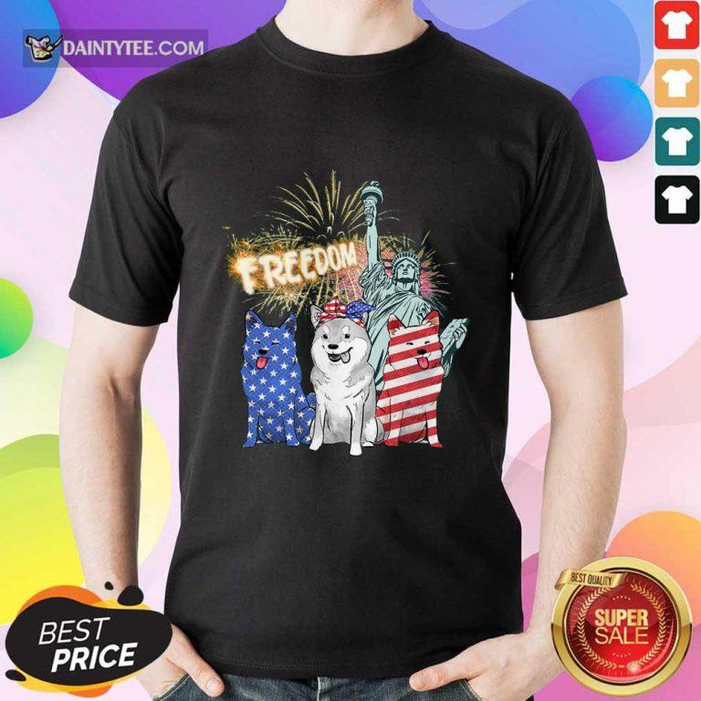 Freedom Shiba Inu Statue Of Liberty USA Flag Shirt